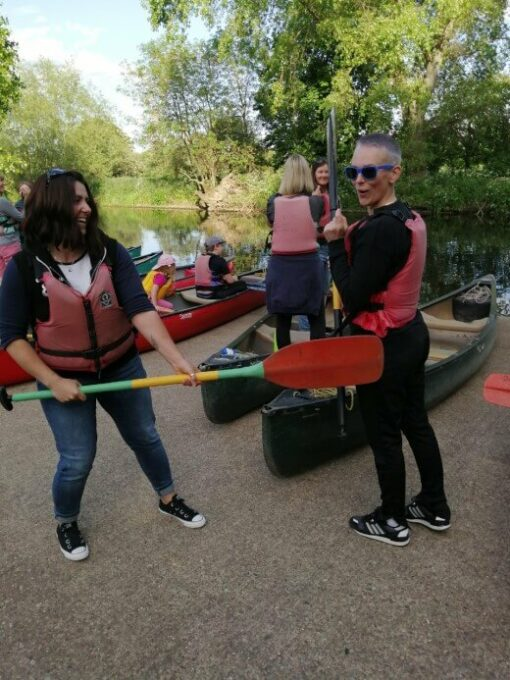 dollies messing around with oars